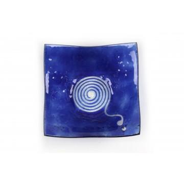 Piatto quadrato vetro fusione blu - Cima