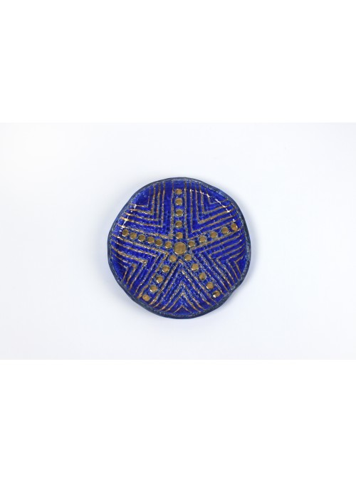Rounded plate in mosaic fusion glass - Pintadera