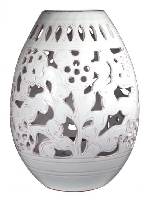 Luce in ceramica intagliata fatta a mano - Uovo