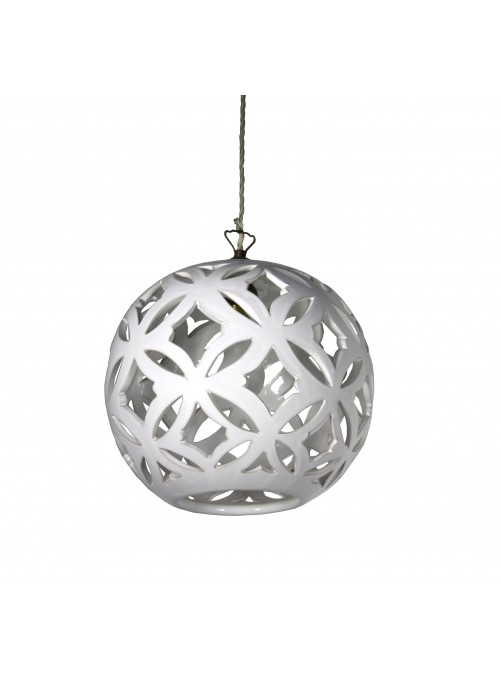 Handmade ceramic supension rounded lamp