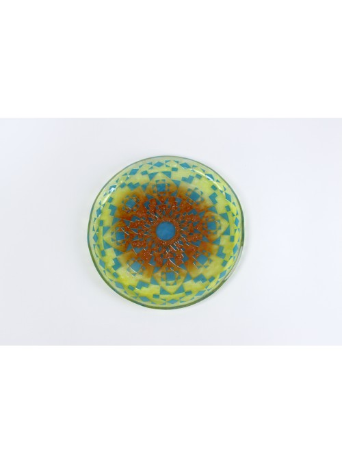 Rounded tray in fusion glass - Mandala Giallo