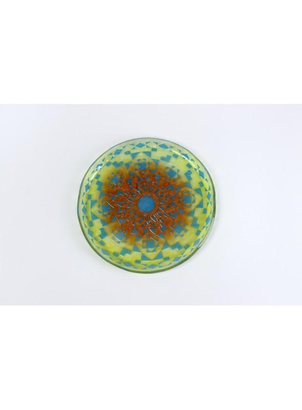 Vassoio tondo in vetro fusione sabbiato - Mandala Giallo