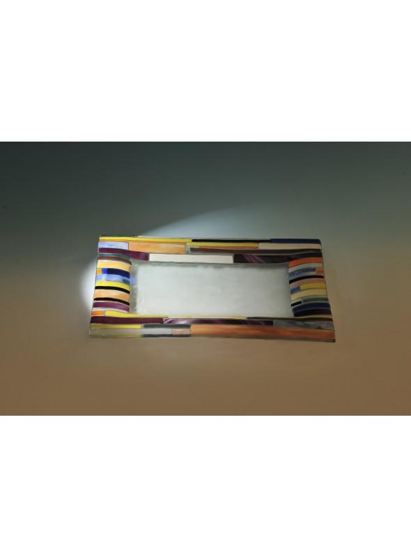 Vassoio rettangolare in vetro con contorno colorato - Regoli rettangolare
