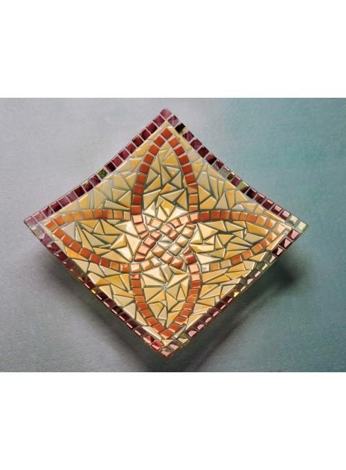 Centrotavola quadrato in vetro con motivo romantico