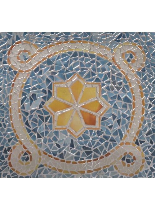 Centrotavola quadrato in vetro con motivo romantico oro e blu