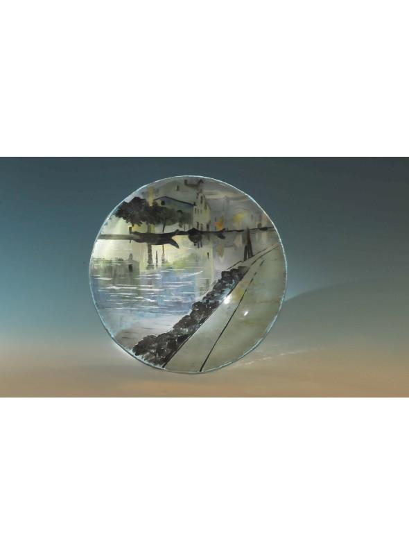 Centrotavola circolare in vetro con elegante decoro - Paesaggio