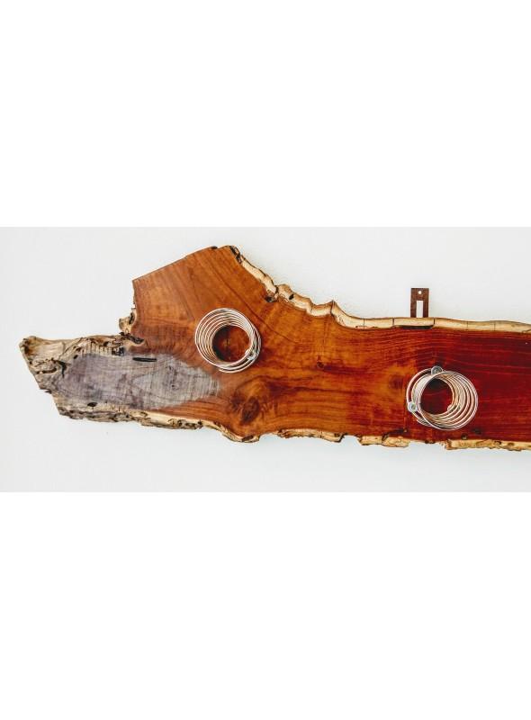Appendiabiti ricavato da un ceppo in legno e quattro portabicchieri - Lignum