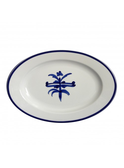 Serving dish elliptical shape crafted in painted porcelain - Antico ragno ovale