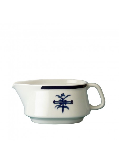 Gravy boat in painted porcelain with blue decoration