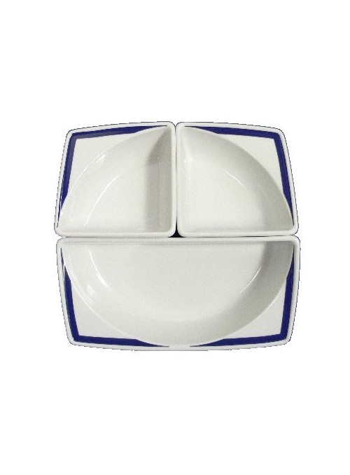 Set per aperitivo in porcellana dipinta con decoro blu