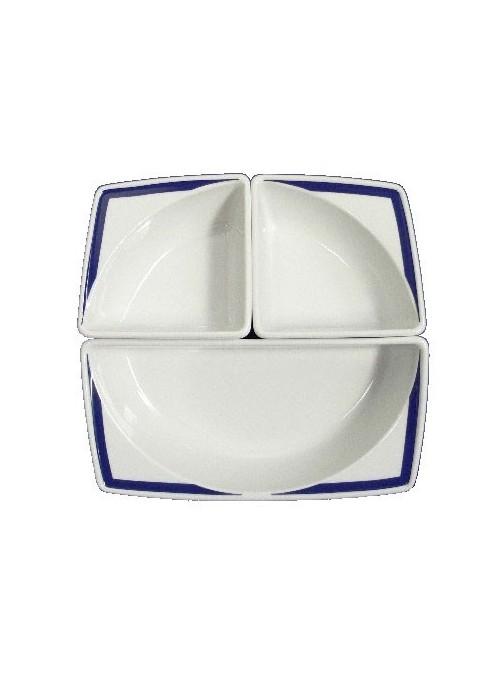 Set per aperitivo in porcellana dipinta con decoro blu
