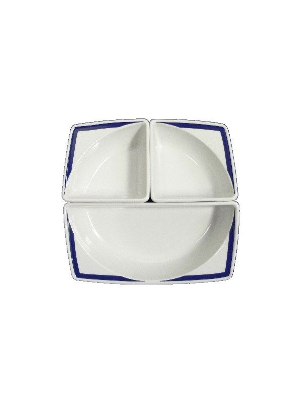 Appetizer set in painted porcelain with blue decoration
