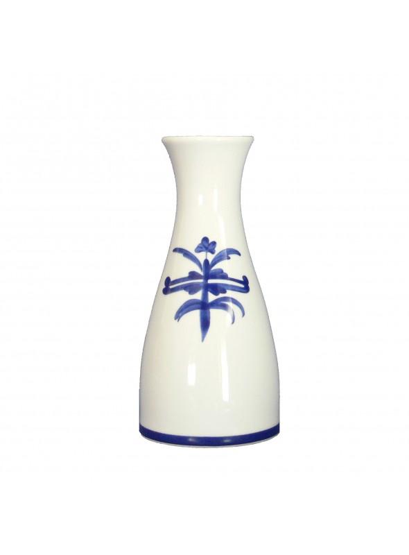 Vaso da fiori in porcellana dipinta con decoro blu