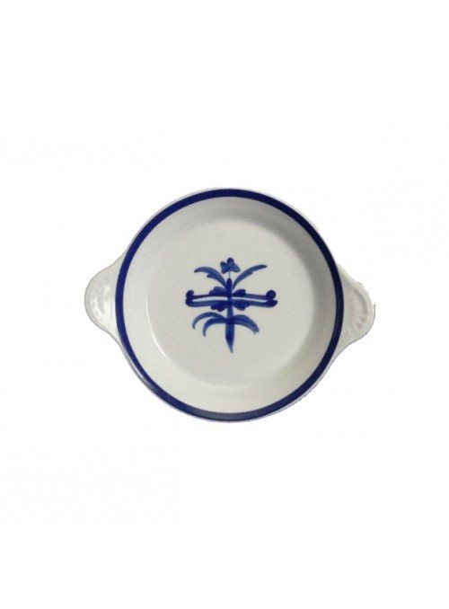Small egg pan in painted porcelain with blue decoration