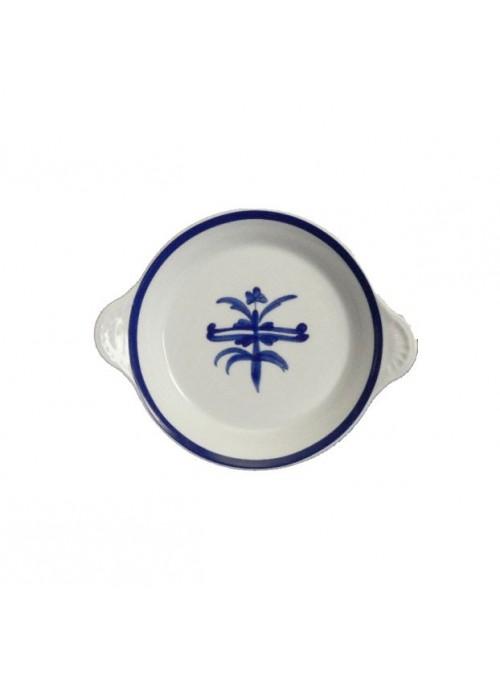Tegamino per uova in porcellana dipinta con decoro blu
