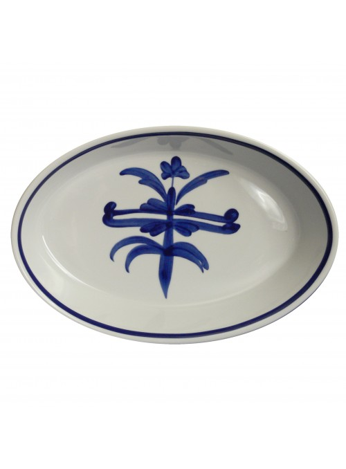 Pirofila ovale in porcellana da forno con decoro blu