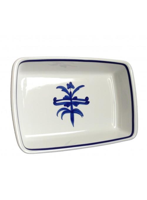 Pirofila rettangolare in porcellana da forno con decoro blu