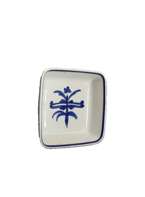 Squared casserole in painted porcelain with blue decoration