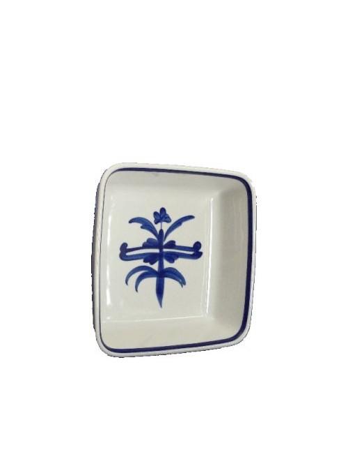 Pirofila quadrata in porcellana da forno con decoro blu