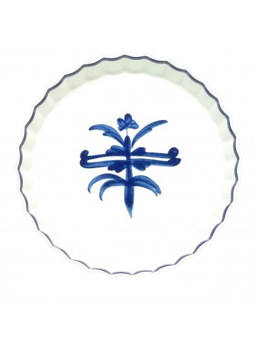Tortiera rotonda in porcellana da forno con decoro blu