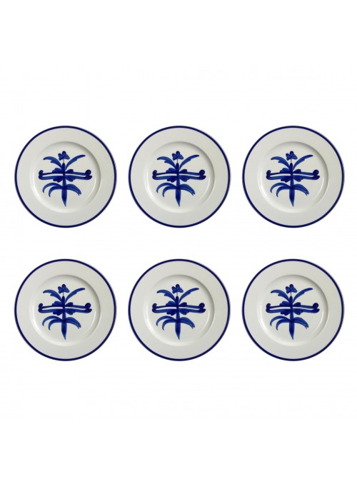 Dinner plate set in painted porcelain with blue decoration