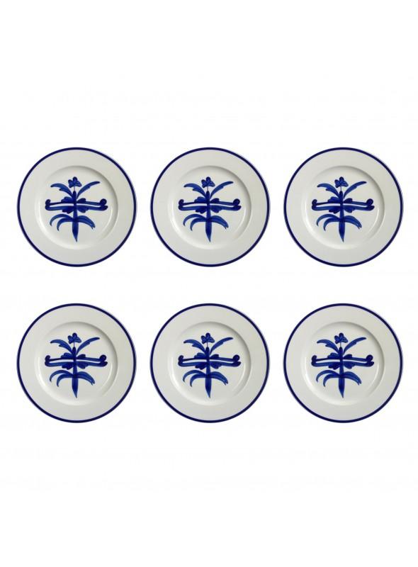 Set di piatti piani in porcellana con decoro blu