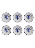 Soup plate set in painted porcelain with blue decoration
