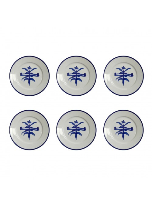 Small dinner plate set in painted porcelain with blue decoration