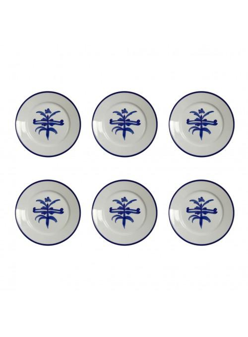 Set di piatti piani piccoli in porcellana con decoro blu