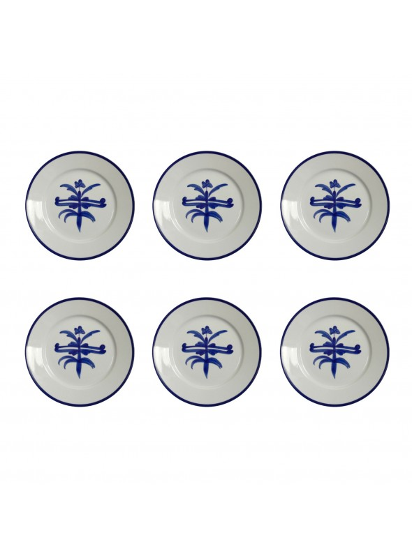 Small dinner plate set in painted porcelain with blue decoration  sc 1 st  Artesan Bazar & Small dinner plates set in painted porcelain