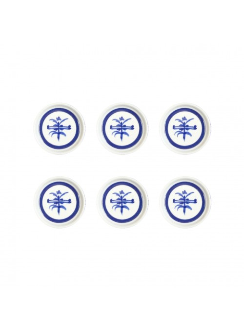 Set di piattini per burro in porcellana con decoro blu