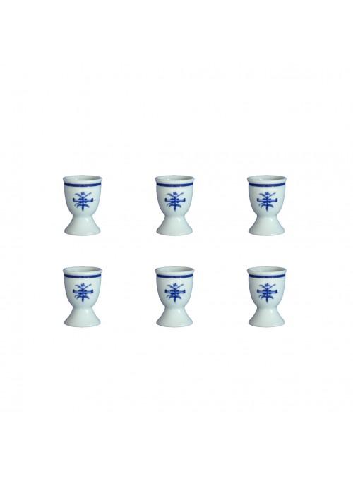 Set bicchierini portauovo in porcellana con decoro blu