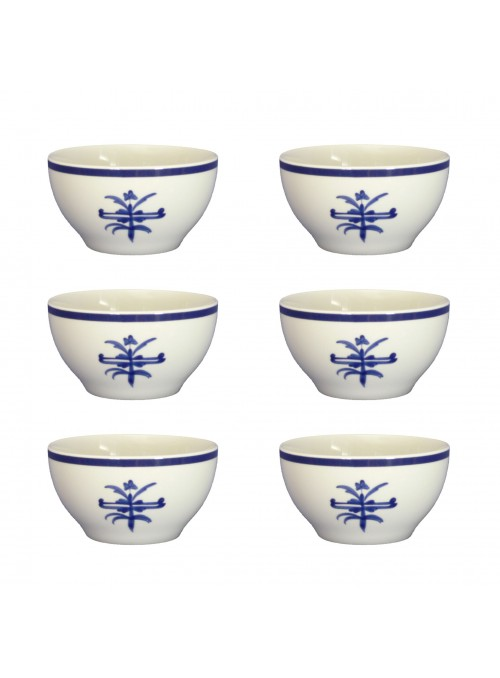 Six small bowl set in painted porcelain with blue decoration
