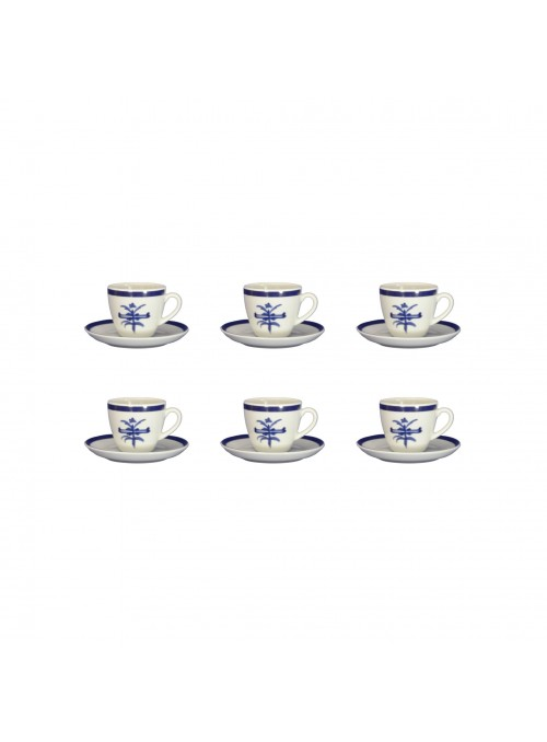 Six espresso cups set in painted porcelain with blue decoration