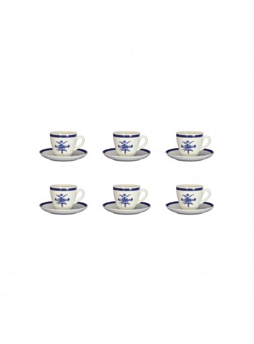 Set tazzine da caffè in porcellana con decoro blu