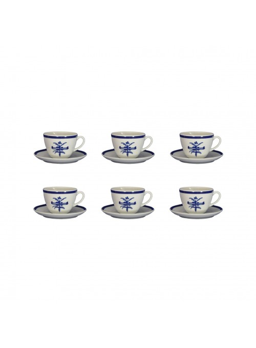 Six tea cups set in painted porcelain with blue decoration