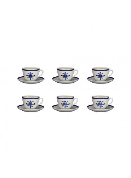 Set tazze da the in porcellana con decoro blu