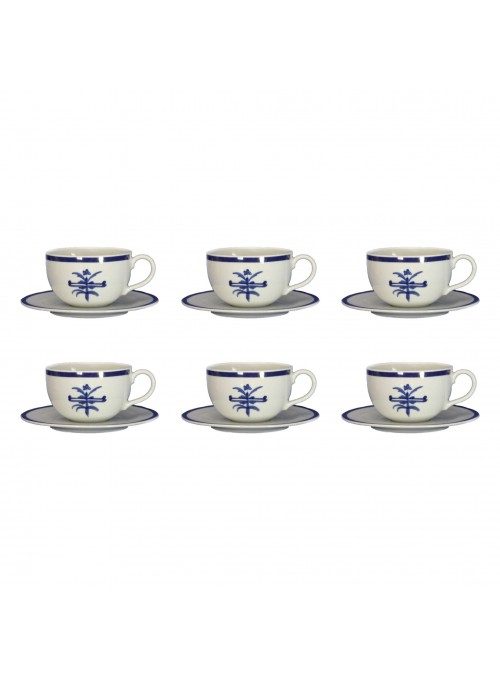 Six milk cups with plates set in painted porcelain with blue decoration