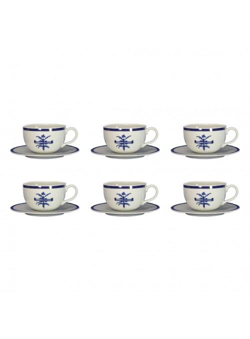 Set tazze da latte con piattino in porcellana con decoro blu