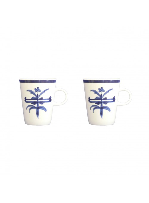 Due mug coniche in porcellana con decoro blu