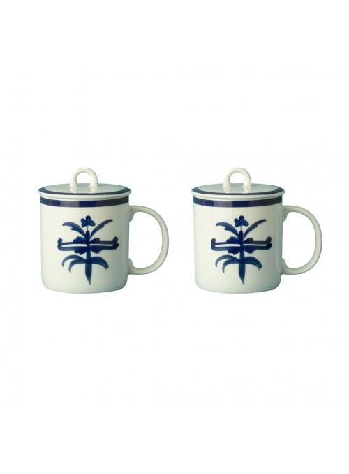 Painted porcelain mug set with blue decoration