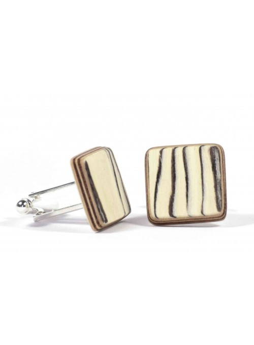 Gemelli quadrati in legno di betulla e metallo