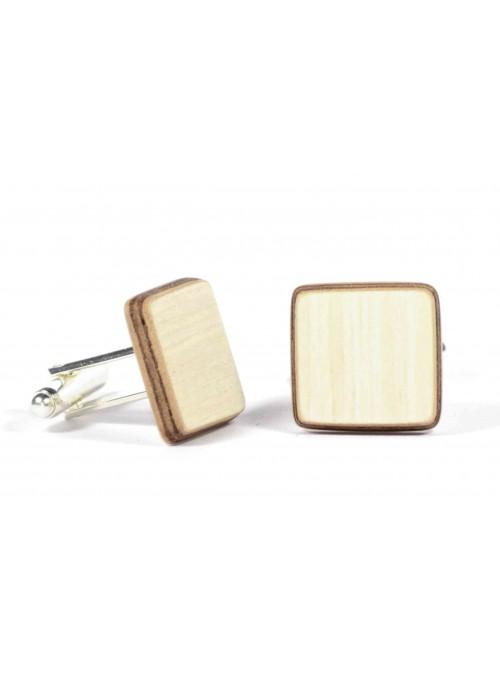 Gemelli quadrati in legno di frassino e metallo