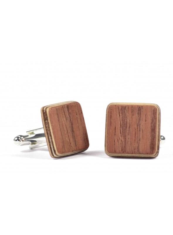 Gemelli quadrati in legno di padouk e metallo