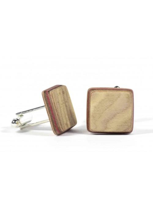 Gemelli quadrati in legno di radica e metallo