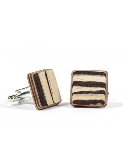 Gemelli quadrati in zebrano bianco e metallo