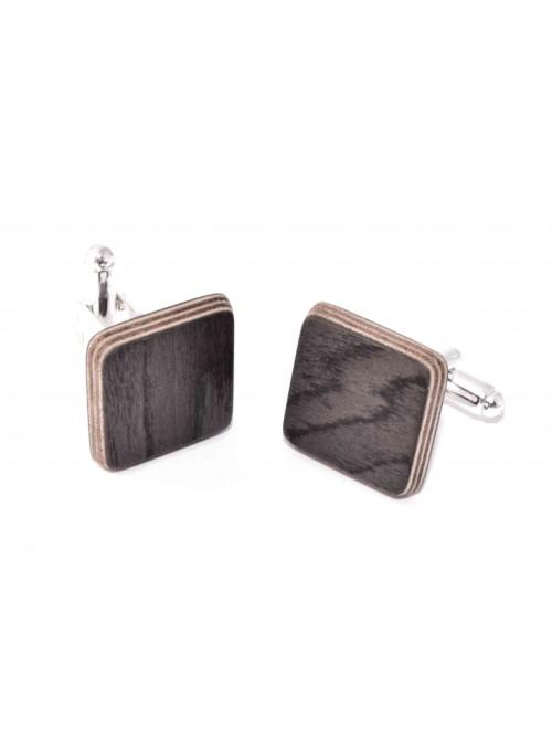 Gemelli quadrati in betulla nera e metallo