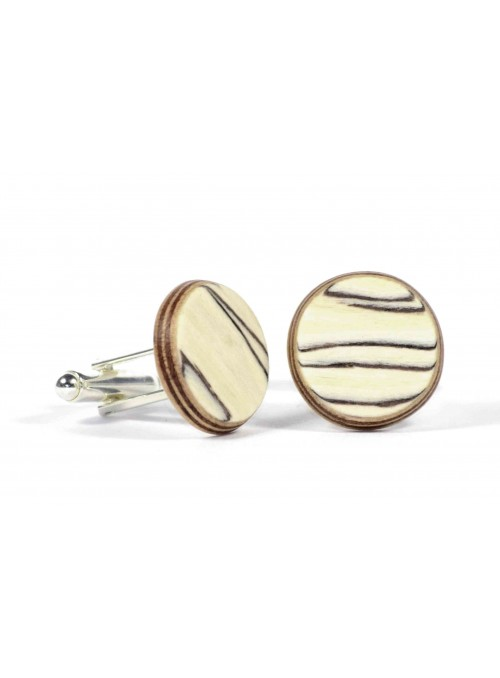 Rounded cufflinks in birch and metal
