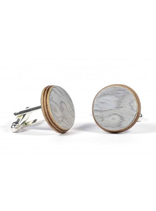 Gemelli rotondi in radica di ulivo bianca e metallo