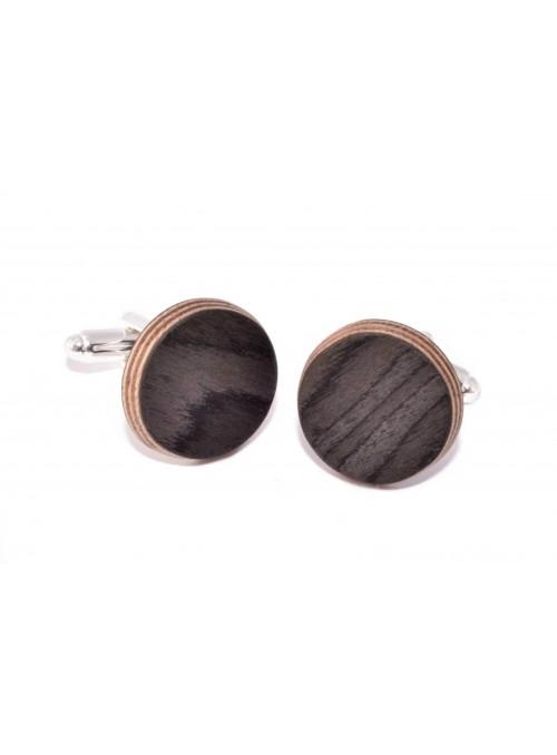 Gemelli rotondi in betulla nera e metallo